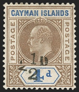 Sale Number 1214, Lot Number 1289, Cape of Good Hope thru CeylonCAYMAN ISLANDS, 1908, 2-1/2p on 4p Brown & Blue, Provisional Surcharge (20; SG 35), CAYMAN ISLANDS, 1908, 2-1/2p on 4p Brown & Blue, Provisional Surcharge (20; SG 35)