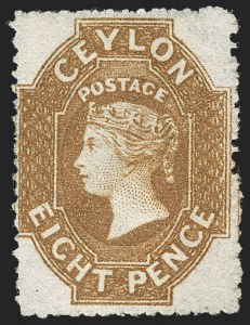 Sale Number 1214, Lot Number 1292, Cape of Good Hope thru CeylonCEYLON, 1861-64, 8p Yellow Brown (30; SG 32a), CEYLON, 1861-64, 8p Yellow Brown (30; SG 32a)