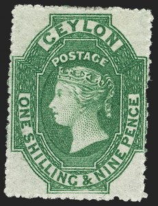 Sale Number 1214, Lot Number 1293, Cape of Good Hope thru CeylonCEYLON, 1861, 1sh9p Green, Rough Perf 14-15-1/2 (35; SG 36), CEYLON, 1861, 1sh9p Green, Rough Perf 14-15-1/2 (35; SG 36)