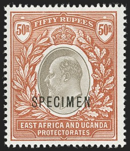 "Sale Number 1214, Lot Number 1299, Crete thru Falkland IslandsEAST AFRICA  AND UGANDA PROTECTORATES, 1903, 50r Orange Brown & Black, ""Specimen"" Overprint (16S; SG 16s), EAST AFRICA  AND UGANDA PROTECTORATES, 1903, 50r Orange Brown & Black, ""Specimen"" Overprint (16S; SG 16s)"