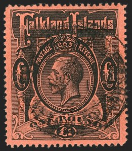 Sale Number 1214, Lot Number 1301, Crete thru Falkland IslandsFALKLAND ISLANDS, 1912, £1 Black on Red (40; SG 69), FALKLAND ISLANDS, 1912, £1 Black on Red (40; SG 69)