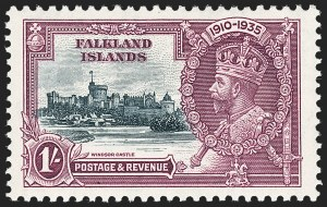 Sale Number 1214, Lot Number 1309, Crete thru Falkland IslandsFALKLAND ISLANDS, 1935, 1sh Silver Jubilee, Flagstaff on Right-hand Turret (80 var; SG 142d), FALKLAND ISLANDS, 1935, 1sh Silver Jubilee, Flagstaff on Right-hand Turret (80 var; SG 142d)