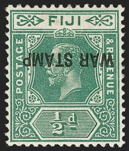 Sale Number 1214, Lot Number 1311, Fiji thru Hong KongFIJI, 1916, -1/2p Green, War Tax, Inverted Overprint (MR1a; SG 138c), FIJI, 1916, -1/2p Green, War Tax, Inverted Overprint (MR1a; SG 138c)
