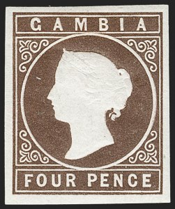 Sale Number 1214, Lot Number 1313, Fiji thru Hong KongGAMBIA, 1869, 4p Brown (1a; SG 1), GAMBIA, 1869, 4p Brown (1a; SG 1)
