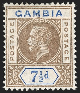 "Sale Number 1214, Lot Number 1314, Fiji thru Hong KongGAMBIA, 1912, 7-1/2 Brown & Blue, Split ""A"" (SG 95a), GAMBIA, 1912, 7-1/2 Brown & Blue, Split ""A"" (SG 95a)"