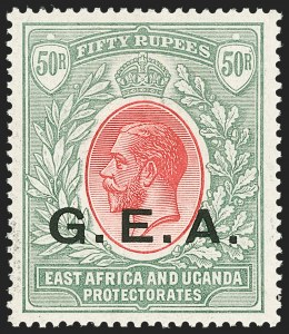 Sale Number 1214, Lot Number 1316, Fiji thru Hong KongGERMAN EAST AFRICA, 1917, 50r Gray Green & Red (N122; SG 62), GERMAN EAST AFRICA, 1917, 50r Gray Green & Red (N122; SG 62)