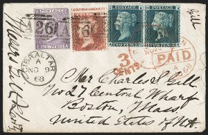 Sale Number 1214, Lot Number 1317, Fiji thru Hong KongGREAT BRITAIN, Used in Gibraltar, 1868, 1p Rose Red, 2p Blue, 6p Lilac (A17, A20, A42; SG Z19, Z22, Z44), GREAT BRITAIN, Used in Gibraltar, 1868, 1p Rose Red, 2p Blue, 6p Lilac (A17, A20, A42; SG Z19, Z22, Z44)