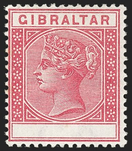 Sale Number 1214, Lot Number 1318, Fiji thru Hong KongGIBRALTAR, 1889, 10c Rose, Value Omitted (30a; SG 23b), GIBRALTAR, 1889, 10c Rose, Value Omitted (30a; SG 23b)