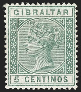 Sale Number 1214, Lot Number 1319, Fiji thru Hong KongGIBRALTAR, 1889-96, 5c Green, Watermark Inverted (SG 22w), GIBRALTAR, 1889-96, 5c Green, Watermark Inverted (SG 22w)