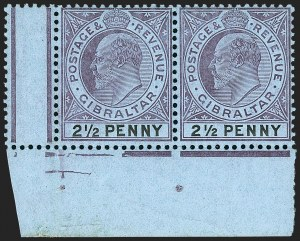 "Sale Number 1214, Lot Number 1320, Fiji thru Hong KongGIBRALTAR, 1907, 2-1/2p Violet & Black on Blue, Large ""2"" in ""1/2"" (54 var; SG 59a), GIBRALTAR, 1907, 2-1/2p Violet & Black on Blue, Large ""2"" in ""1/2"" (54 var; SG 59a)"