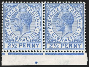 "Sale Number 1214, Lot Number 1322, Fiji thru Hong KongGIBRALTAR, 1921, 2-1/2p Bright Blue, Large ""2"" in ""1/2"" (80 var; SG 94a), GIBRALTAR, 1921, 2-1/2p Bright Blue, Large ""2"" in ""1/2"" (80 var; SG 94a)"