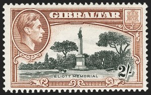 Sale Number 1214, Lot Number 1324, Fiji thru Hong KongGIBRALTAR, 1942, 2sh Black & Brown, Perf 13, Bird on Memorial (115 var; SG 128bb), GIBRALTAR, 1942, 2sh Black & Brown, Perf 13, Bird on Memorial (115 var; SG 128bb)