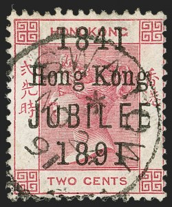 "Sale Number 1214, Lot Number 1327, Fiji thru Hong KongHONG KONG, 1891, 2c Rose with Jubilee Overprint, Short ""U"" Variety (66b; SG 51b), HONG KONG, 1891, 2c Rose with Jubilee Overprint, Short ""U"" Variety (66b; SG 51b)"