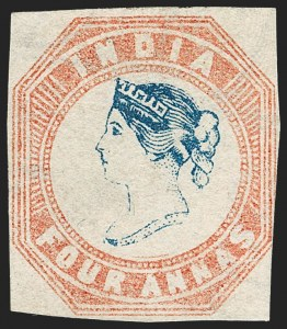 Sale Number 1214, Lot Number 1332, IndiaINDIA, 1854, 4a Pale Red & Blue (SG 18; Scott 6), INDIA, 1854, 4a Pale Red & Blue (SG 18; Scott 6)