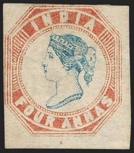 Sale Number 1214, Lot Number 1333, IndiaINDIA, 1854, 4a Pale Red & Blue (SG 18; Scott 6), INDIA, 1854, 4a Pale Red & Blue (SG 18; Scott 6)