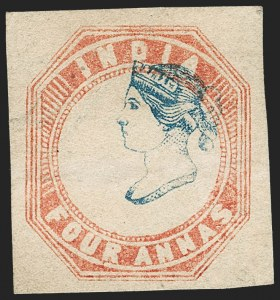 Sale Number 1214, Lot Number 1334, IndiaINDIA, 1854, 4a Pale Red & Blue (SG 18; Scott 6), INDIA, 1854, 4a Pale Red & Blue (SG 18; Scott 6)