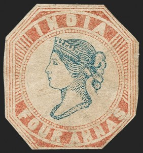 Sale Number 1214, Lot Number 1335, IndiaINDIA, 1854, 4a Red & Blue (SG 18; Scott 6), INDIA, 1854, 4a Red & Blue (SG 18; Scott 6)