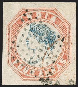Sale Number 1214, Lot Number 1336, IndiaINDIA, 1854, 4a Pale Red & Blue (SG 18; Scott 6), INDIA, 1854, 4a Pale Red & Blue (SG 18; Scott 6)