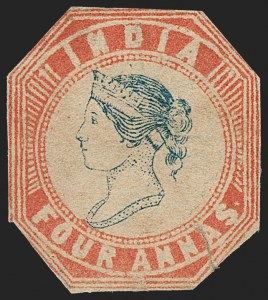Sale Number 1214, Lot Number 1337, IndiaINDIA, 1854, 4a Red & Blue (SG 25; Scott 6), INDIA, 1854, 4a Red & Blue (SG 25; Scott 6)