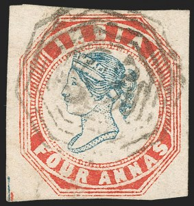 Sale Number 1214, Lot Number 1338, IndiaINDIA, 1854, 4a Red & Blue (SG 25; Scott 6), INDIA, 1854, 4a Red & Blue (SG 25; Scott 6)
