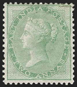 Sale Number 1214, Lot Number 1339, IndiaINDIA, 1855-64, 2a Yellow Green, Unissued (SG 50; Scott 14), INDIA, 1855-64, 2a Yellow Green, Unissued (SG 50; Scott 14)