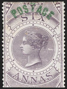 Sale Number 1214, Lot Number 1341, IndiaINDIA, 1866, 6a Violet, Type I (SG 66; Scott 29), INDIA, 1866, 6a Violet, Type I (SG 66; Scott 29)