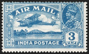 "Sale Number 1214, Lot Number 1342, IndiaINDIA, 1929, 3a Deep Blue, ""1"" for Second ""I"" in ""India"" (SG 221b), INDIA, 1929, 3a Deep Blue, ""1"" for Second ""I"" in ""India"" (SG 221b)"