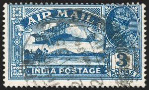 "Sale Number 1214, Lot Number 1343, IndiaINDIA, 1929, 3a Deep Blue, ""1"" for Second ""I"" in ""India"" (SG 221b), INDIA, 1929, 3a Deep Blue, ""1"" for Second ""I"" in ""India"" (SG 221b)"