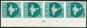 Sale Number 1214, Lot Number 1346, IndiaINDIA, 1960, 1np Blue Green, Imperforate (SG 399a; Scott 302a), INDIA, 1960, 1np Blue Green, Imperforate (SG 399a; Scott 302a)