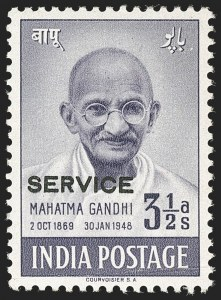 Sale Number 1214, Lot Number 1349, IndiaINDIA, 1948, 3-1/2a Gandhi, Official (SG O150b; Scott O112B), INDIA, 1948, 3-1/2a Gandhi, Official (SG O150b; Scott O112B)