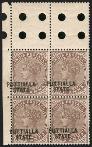 Sale Number 1214, Lot Number 1352, IndiaINDIA, Patiala, 1885, 1a Violet Brown, Double Overprint (11 var; SG 11c), INDIA, Patiala, 1885, 1a Violet Brown, Double Overprint (11 var; SG 11c)