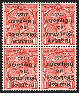 Sale Number 1214, Lot Number 1355, Ireland thru MaltaIRELAND, 1922, 1p Scarlet, Inverted Overprint (2a; SG 2a), IRELAND, 1922, 1p Scarlet, Inverted Overprint (2a; SG 2a)