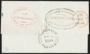 Sale Number 1214, Lot Number 1356, Ireland thru MaltaJAMAICA, 1844 Double Forwarded Cover to London, JAMAICA, 1844 Double Forwarded Cover to London