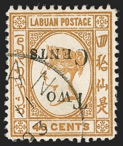 Sale Number 1214, Lot Number 1361, Ireland thru MaltaLABUAN, 1893, 2c on 40c Ocher, Inverted Surcharge (40a; SG 49a), LABUAN, 1893, 2c on 40c Ocher, Inverted Surcharge (40a; SG 49a)