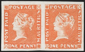 Sale Number 1214, Lot Number 1371, Mauritius thru New BritainMAURITIUS, 1848, 1p Orange, Early Impression (3a; SG 7), MAURITIUS, 1848, 1p Orange, Early Impression (3a; SG 7)