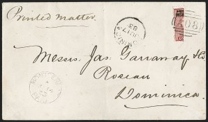Sale Number 1214, Lot Number 1374, Mauritius thru New BritainMONTSERRAT, 1876, 1p Red, Vertical Bisect Used as -1/2p (1a; SG 1a), MONTSERRAT, 1876, 1p Red, Vertical Bisect Used as -1/2p (1a; SG 1a)