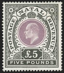 Sale Number 1214, Lot Number 1378, Mauritius thru New BritainNATAL, 1902, £5 Black & Violet (98; SG 144), NATAL, 1902, £5 Black & Violet (98; SG 144)