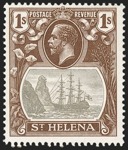 Sale Number 1214, Lot Number 1403, St. Helena thru Sierra LeoneST. HELENA, 1922, 1sh Gray & Brown, Cleft Rock (SG 106c), ST. HELENA, 1922, 1sh Gray & Brown, Cleft Rock (SG 106c)