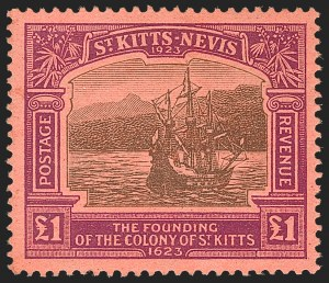 Sale Number 1214, Lot Number 1404, St. Helena thru Sierra LeoneST. KITTS-NEVIS, 1923, £1 Violet & Black on Red (64; SG 60), ST. KITTS-NEVIS, 1923, £1 Violet & Black on Red (64; SG 60)