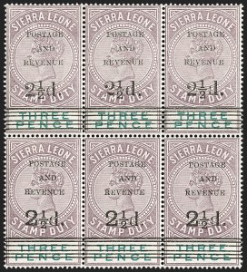 Sale Number 1214, Lot Number 1408, St. Helena thru Sierra LeoneSIERRA LEONE, 1897, 2-1/2p on 3p Lilac & Green (48-50; SG 55-57), SIERRA LEONE, 1897, 2-1/2p on 3p Lilac & Green (48-50; SG 55-57)