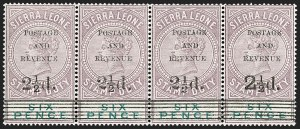 Sale Number 1214, Lot Number 1410, St. Helena thru Sierra LeoneSIERRA LEONE, 1897, 2-1/2p on 6p Lilac & Green (52-55; SG 59-62), SIERRA LEONE, 1897, 2-1/2p on 6p Lilac & Green (52-55; SG 59-62)