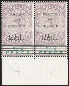 Sale Number 1214, Lot Number 1411, St. Helena thru Sierra LeoneSIERRA LEONE, 1897, 2-1/2p on 6p Lilac & Green (52-54; SG 59-61), SIERRA LEONE, 1897, 2-1/2p on 6p Lilac & Green (52-54; SG 59-61)
