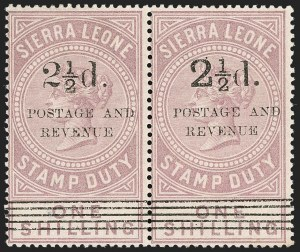 "Sale Number 1214, Lot Number 1415, St. Helena thru Sierra LeoneSIERRA LEONE, 1897, 2-1/2p on 1sh Lilac, Italic ""N"" in ""Revenue"" (58a; SG 66a), SIERRA LEONE, 1897, 2-1/2p on 1sh Lilac, Italic ""N"" in ""Revenue"" (58a; SG 66a)"