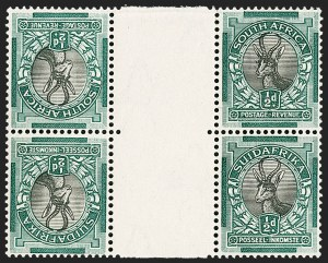 Sale Number 1214, Lot Number 1420, Somaliland thru TobagoSOUTH AFRICA, 1930-45, -1/2p Blue Green & Black, Tete-Beche Pair (33c; SG 42b), SOUTH AFRICA, 1930-45, -1/2p Blue Green & Black, Tete-Beche Pair (33c; SG 42b)