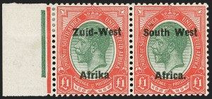 "Sale Number 1214, Lot Number 1421, Somaliland thru TobagoSOUTH WEST AFRICA, 1923, £1 Red & Green, Pair, Setting II, Without Period after ""Afrika"" (15c; SG 15a), SOUTH WEST AFRICA, 1923, £1 Red & Green, Pair, Setting II, Without Period after ""Afrika"" (15c; SG 15a)"