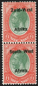 "Sale Number 1214, Lot Number 1422, Somaliland thru TobagoSOUTH WEST AFRICA, 1923, £1 Red & Green, Pair, Setting II, Without Period after ""Afrika"" (15c; SG 15a), SOUTH WEST AFRICA, 1923, £1 Red & Green, Pair, Setting II, Without Period after ""Afrika"" (15c; SG 15a)"