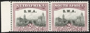 Sale Number 1214, Lot Number 1423, Somaliland thru TobagoSOUTH WEST AFRICA, 1927, 2p Violet Brown & Gray, Double Overprint, One Inverted (99d; SG 60cb), SOUTH WEST AFRICA, 1927, 2p Violet Brown & Gray, Double Overprint, One Inverted (99d; SG 60cb)