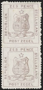 Sale Number 1214, Lot Number 1424, Somaliland thru TobagoSTELLALAND, 1884, 6p Lilac, Vertical Pair, Imperforate Between (4b; SG 4b), STELLALAND, 1884, 6p Lilac, Vertical Pair, Imperforate Between (4b; SG 4b)