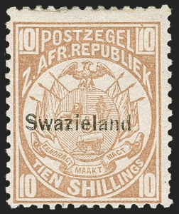 Sale Number 1214, Lot Number 1427, Somaliland thru TobagoSWAZILAND, 1889, 10sh Light Brown (8; SG 9), SWAZILAND, 1889, 10sh Light Brown (8; SG 9)