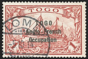Sale Number 1214, Lot Number 1431, Togo thru ZululandTOGO, 1914, 1m Carmine, Second Setting (57; SG H23; Gibbs 23), TOGO, 1914, 1m Carmine, Second Setting (57; SG H23; Gibbs 23)